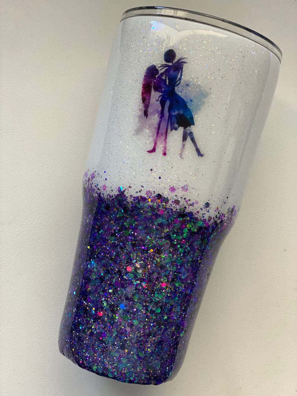 Jack & Sally Glitter Tumbler - Personalized Halloween Tumbler- Nightmare Before Christmas Any Name