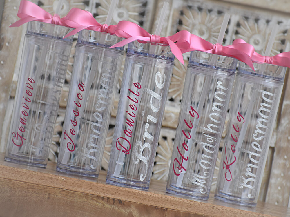Personalized Bridesmaid Skinny Tumbler With Glitter Vinyl Gift Set Wedding Party Acrylic Cups