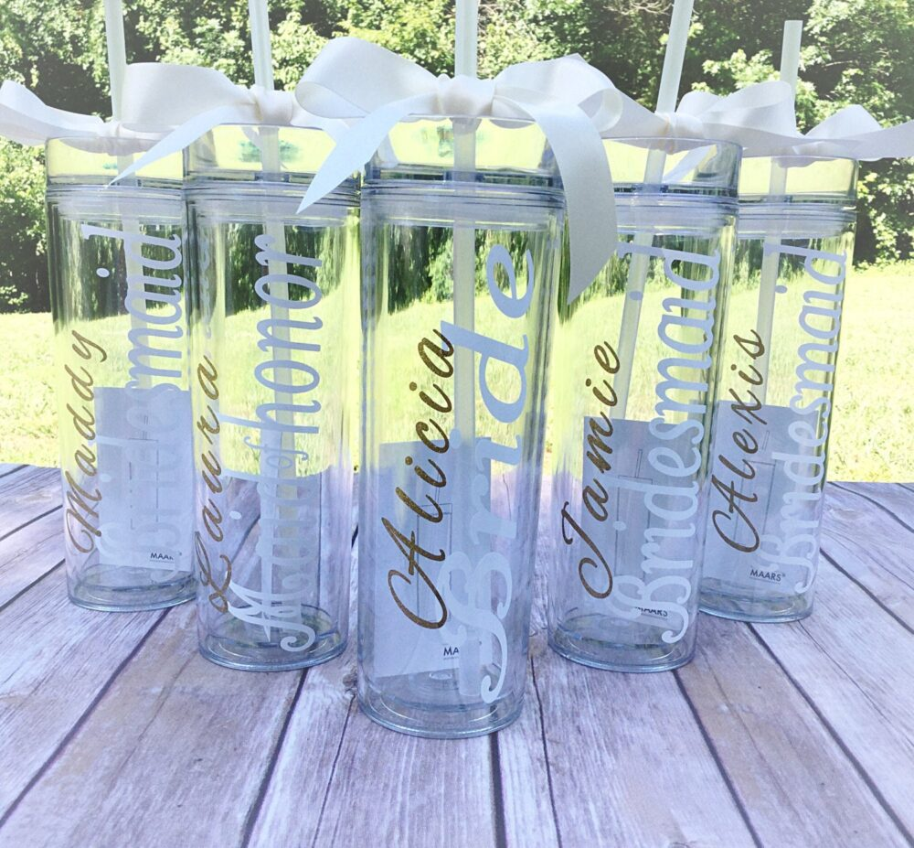 5 Personalized Bridesmaid Skinny Tumbler With Glitter Vinyl Gift Set Wedding Party Acrylic Cups