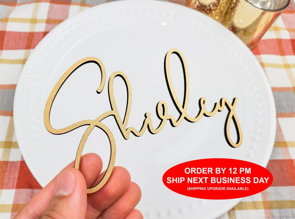 Wedding Place Card Name, Wood Acrylic Name Setting, Plates, Laser Cut Names | Order By 12 Pm Ship Next Business Day [120]