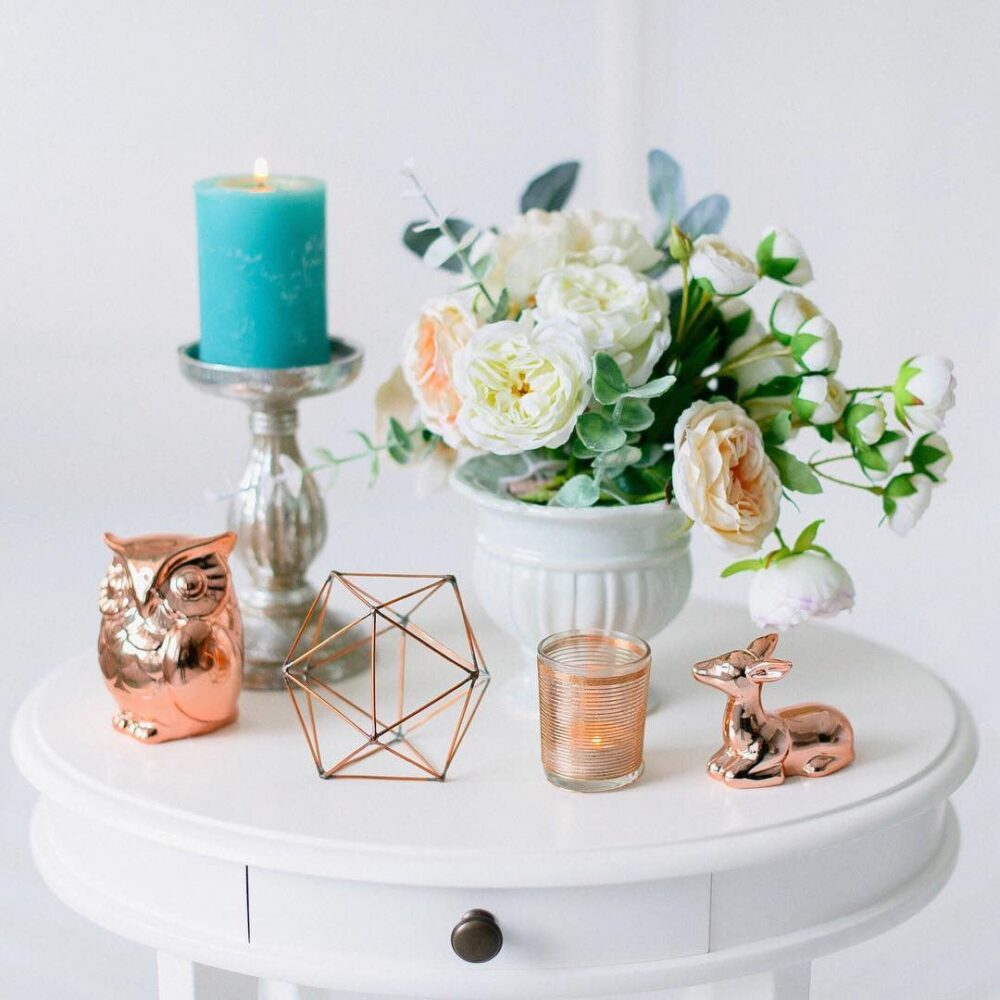Copper Wire Decor - Wedding Candleholders Geometric Decorations Table Centerpiece Candle Holder