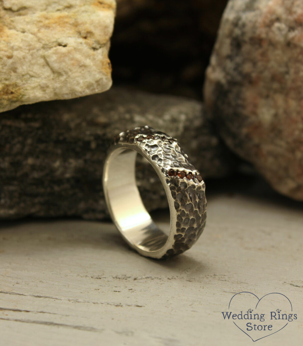 Unusual Rocky Wedding Band, Wide Hammered Band With Garnet, Rough Relief Ring, Heavy Man's Silver Wild Nature Woman's