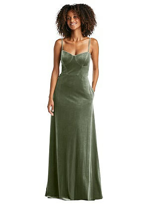 Special Order Bustier Velvet Maxi Dress with Pockets