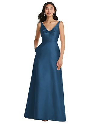 Special Order Pleated Bodice Open-Back Maxi Dress with Pockets