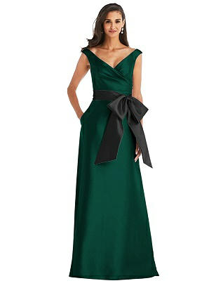 Special Order Off-the-Shoulder Bow-Waist Maxi Dress with Pockets