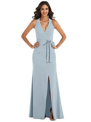 Special Order Open-Back Halter Maxi Dress with Draped Bow