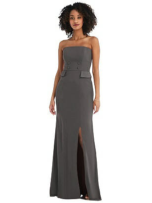Special Order Strapless Tuxedo Maxi Dress with Front Slit
