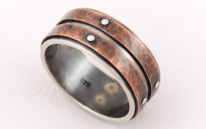 Unique Wedding Band For Men, Copper Silver Ring, Rustic Band, Engagement Ring