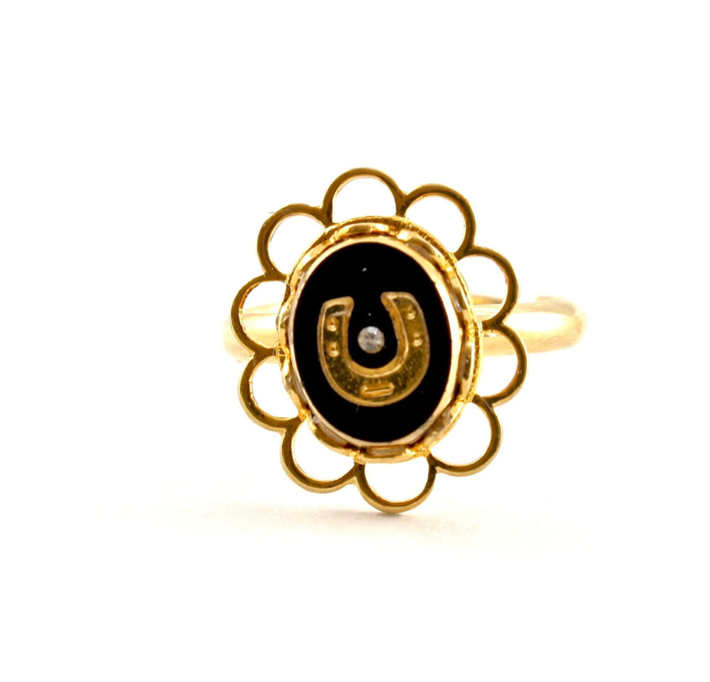Horseshoe Ring, Lucky Charm Jewelry, Horse Lovers Gold Ring With Black Stone