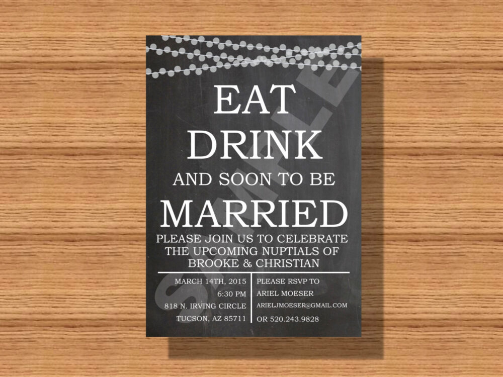 Chalkboard String Lights, Eat Drink & Soon To Be Married, Engagement Party Invitation