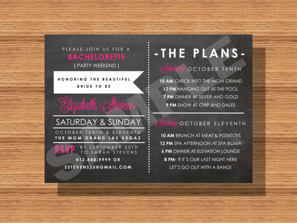 Chalkboard Bachelorette Weekend Party Invitation With Itinerary