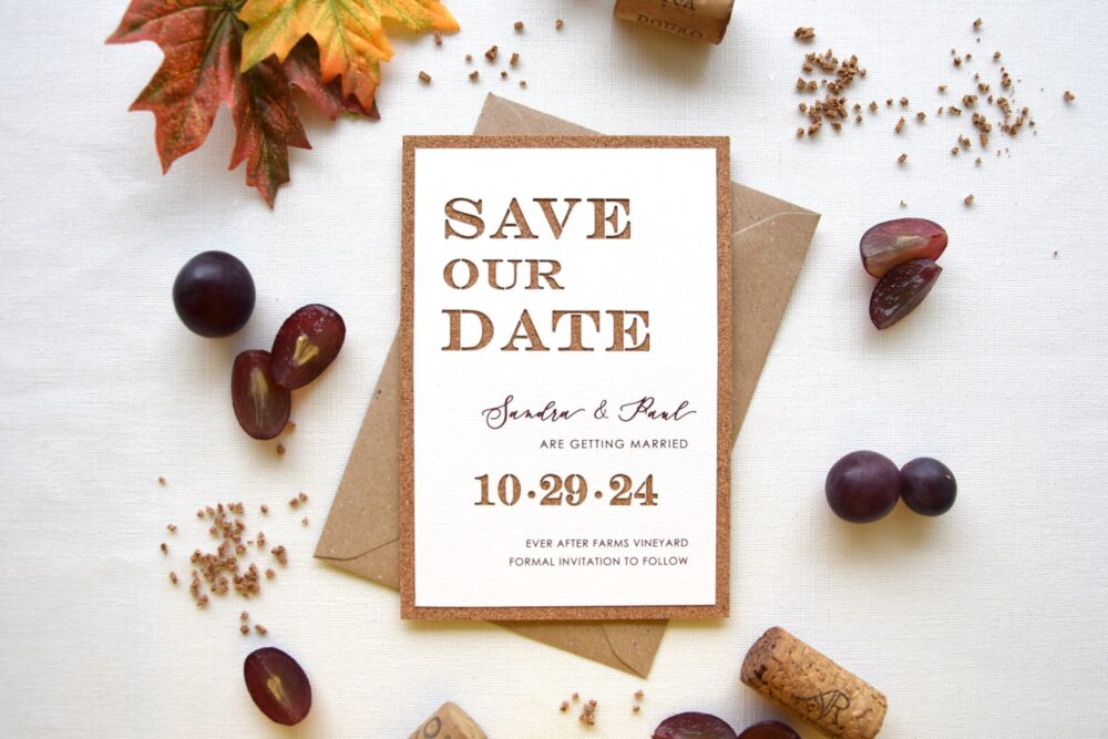 Rustic Cork Winery Wedding Save The Date, Coaster Dates, Chic Our Dates