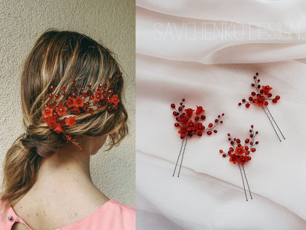 Set Of 3 Wedding Floral Hair Pins Red Accessories, Bridal Flower Piece, Fall Crystal Pin, Red Bride Jewelry