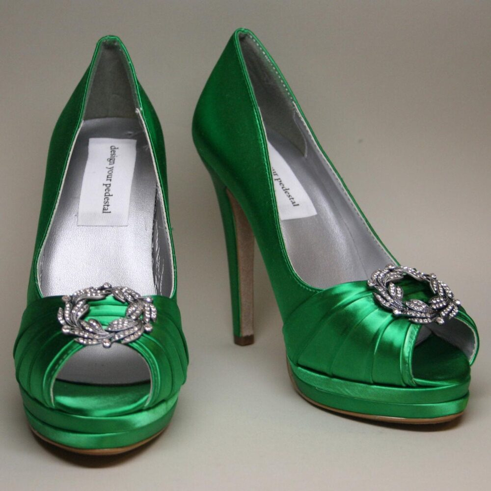 Green Wedding Shoes For Bride, Bridesmaids Shoes, Dyeable Bridal Bride Heels, Green, Dyed