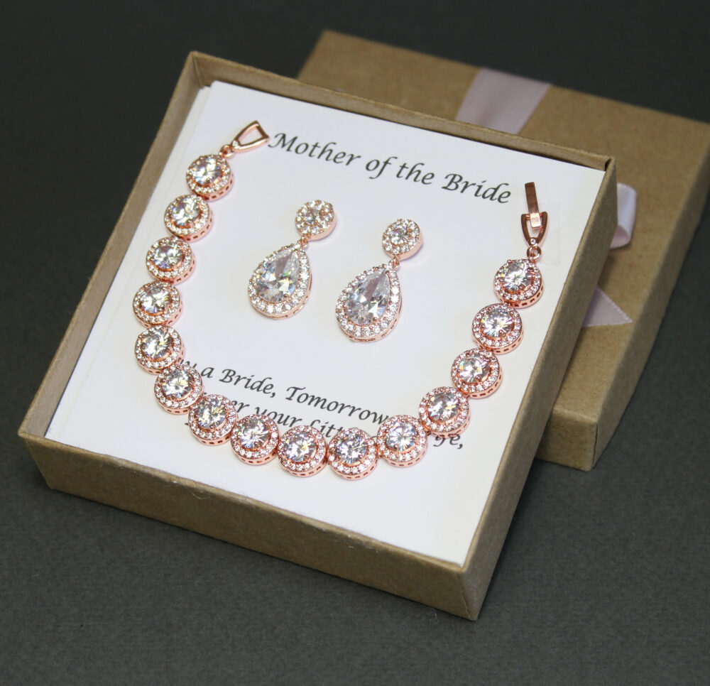 Mother Of The Groom Gift Bride My Other Mom Grandmother Stepmother Wedding Set Silver Bracelet Earrings