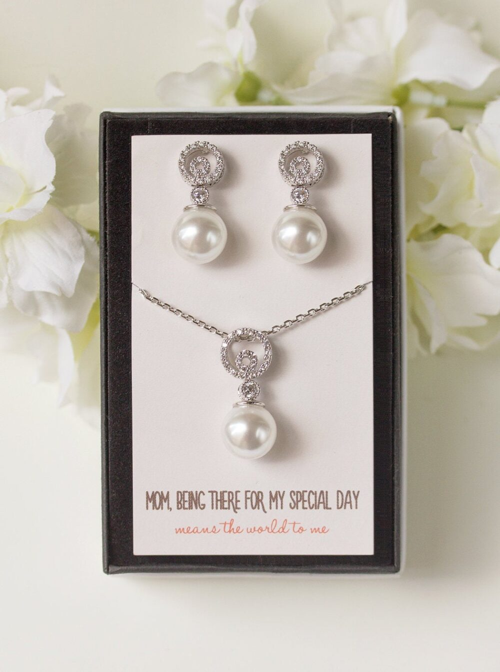 Mother Of The Bride Gift, Gift For Mom, Of Groom Pearl Necklace, Earring & Necklace Set, Earring, N538-D