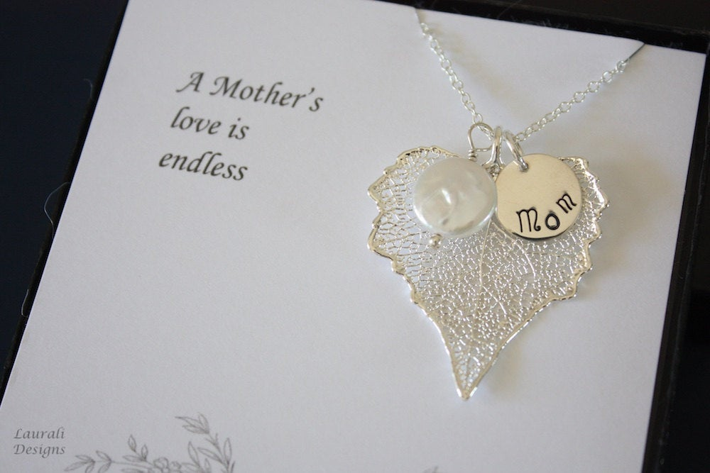 Mother Wedding Gift Real Leaf Necklace, Of The Bride, Groom, Thank You Card, Pearl Sterling Silver, Monogram