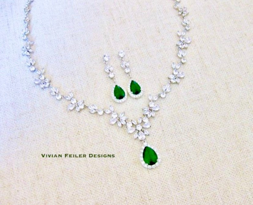Emerald Green Wedding Jewelry Set Necklace & Earrings Cubic Zirconia Mother Of The Bride