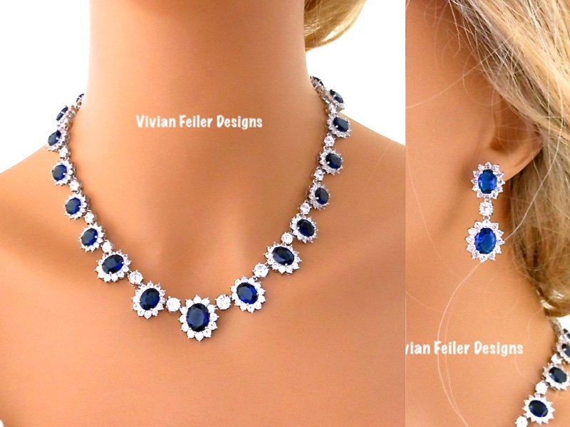 Blue Wedding Jewelry Set Sapphire Blue Bridal Necklace & Earrings Silver Navy Cubic Zirconia Mother Of The Bride