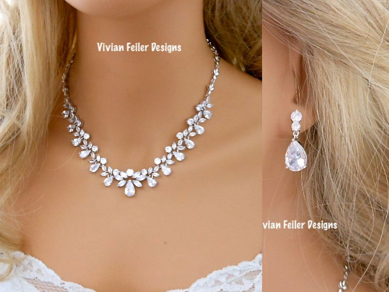 Crystal Jewelry Set Wedding Necklace & Earrings Bridal Cubic Zirconia Mother Of The Bride