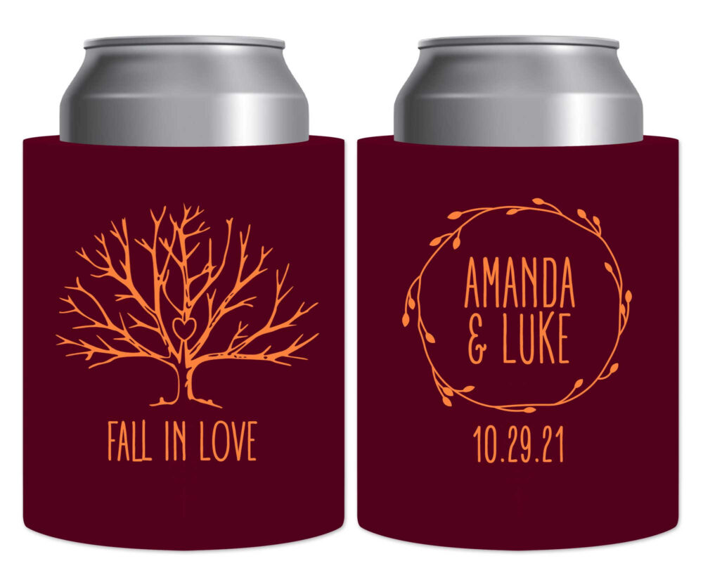 Fall Wedding Favors Autumn Decor Beer Can Coolers Hard Foam Holders Rustic in Love 4A