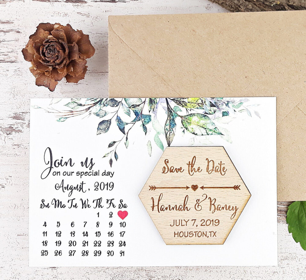 Calendar Wedding Magnet With Greenery Save The Date Card