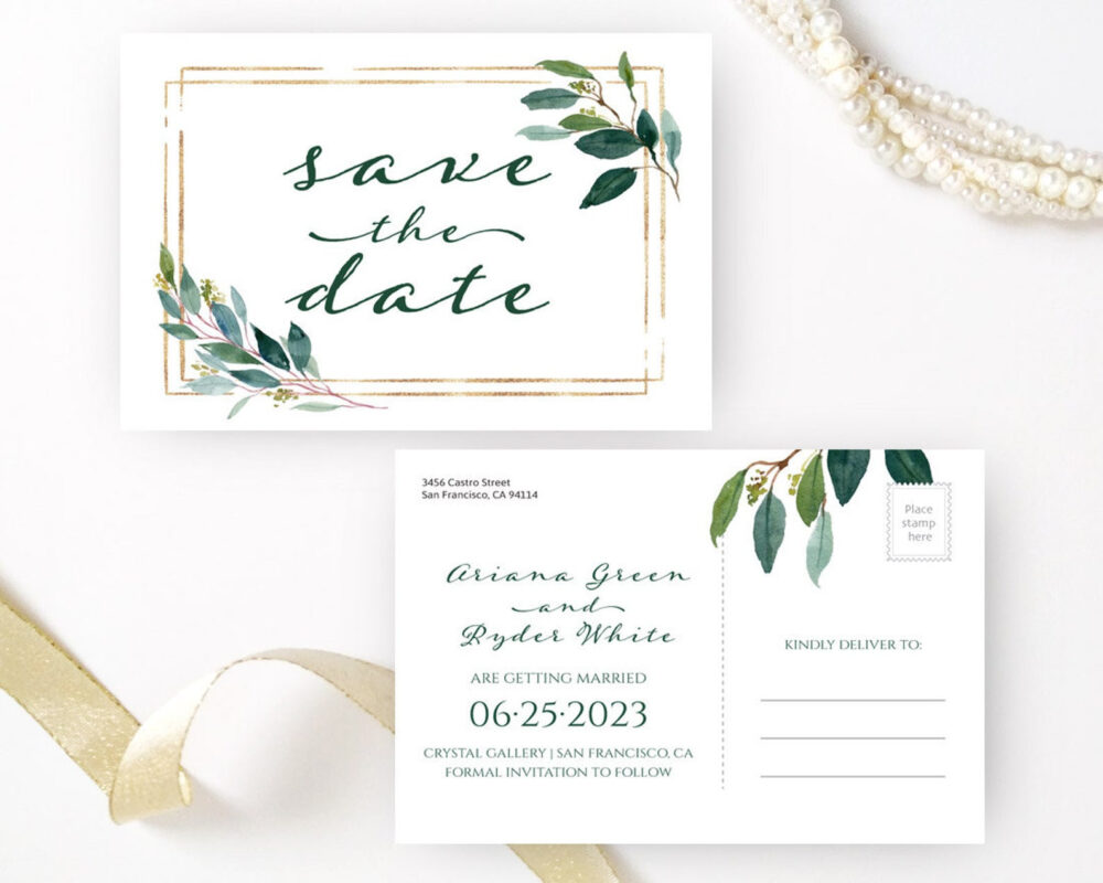 Printed Greenery Save The Date Postcards   Personalized Wedding Save Date Postcard