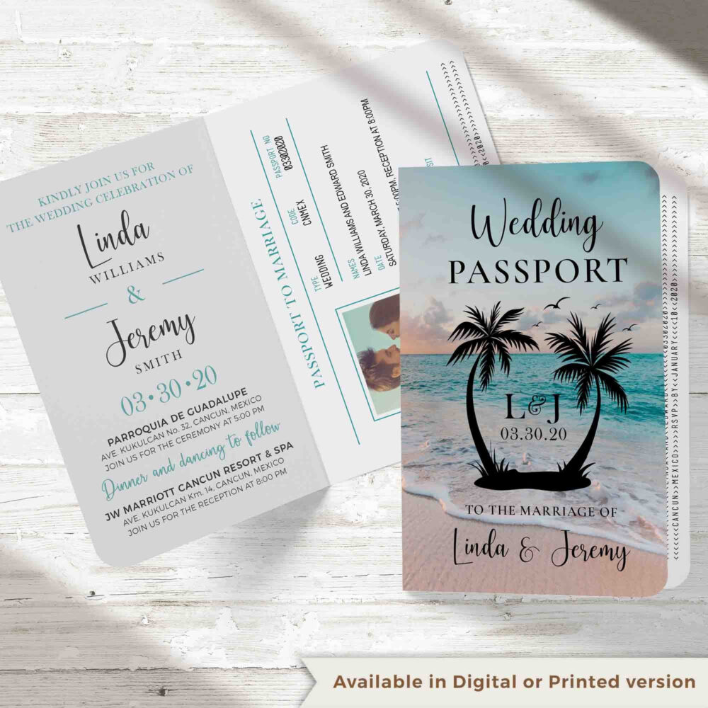 Passport Invitation For A Beach Destination Wedding, This Travel Theme Wedding Passport Invitation Can Be Digital Or Printed, Order Sample