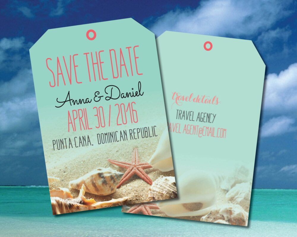 starfish Wedding Save The Date Luggage Tags With Envelopes