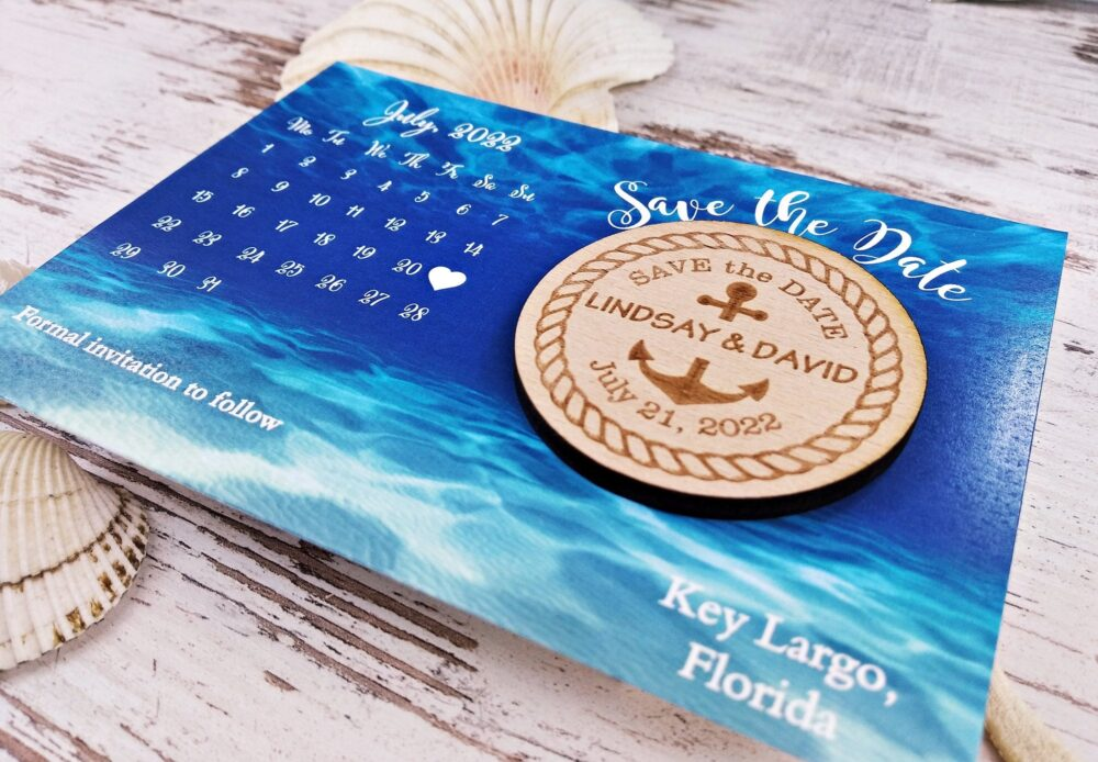 Anchor Save The Date Magnet, Wedding Invitation, Wood The Date, Rustic Beach Wedding, Magnet