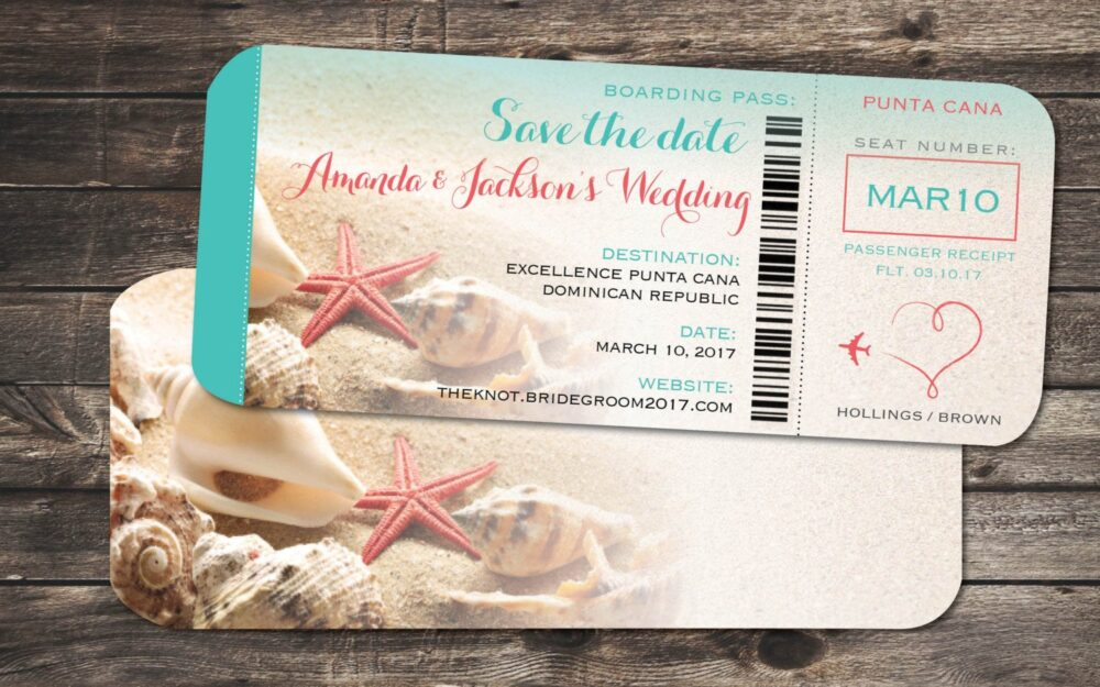 starfish Ticket Save The Date Boarding Pass