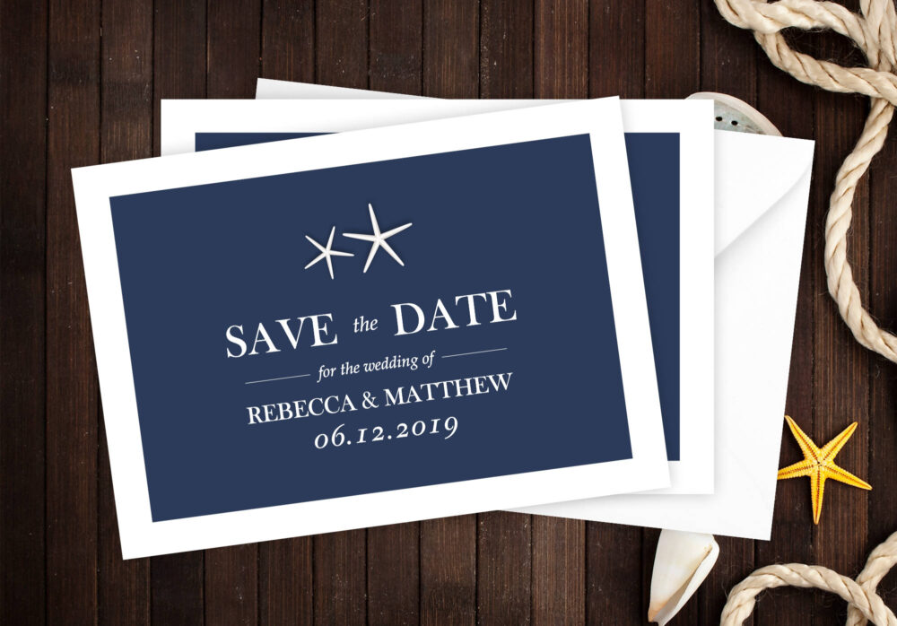 Beach Wedding Save The Date, Date Announcement Cards, Printed Starfish Dates #satd-162