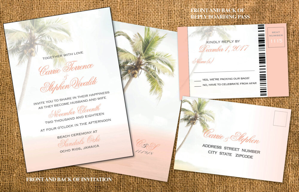 Wedding Beach Invitations, Blush Pink, Gold, Boarding Pass Reply, Tropical Ceremony