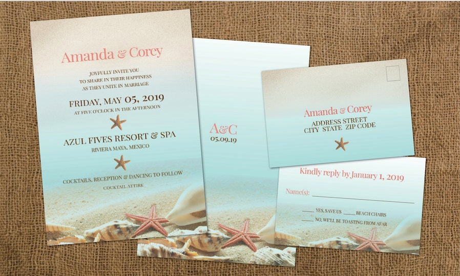 Classy Wedding Beach Invitation Set From Idowithyou, Shown in Coral & Aqua