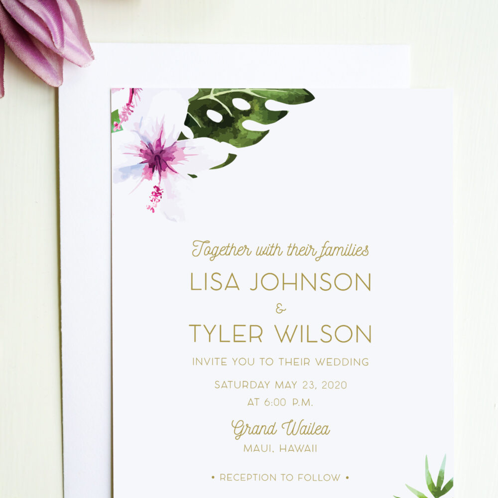 Tropical Wedding Invitation Featuring Watercolor Flowers, Perfect For An Island Wedding, Beach Or Destination
