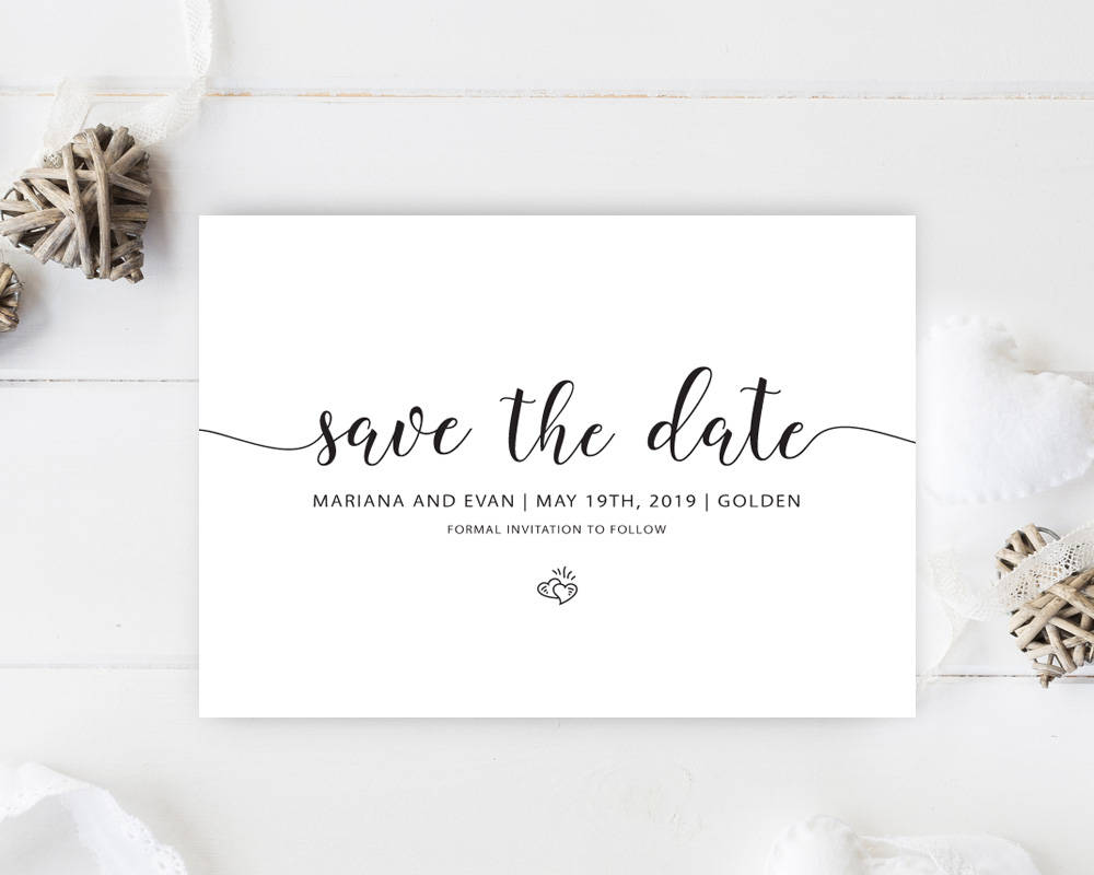 Classic Save The Date, Elegant Calligraphy Date Cards, Printed Wedding Card