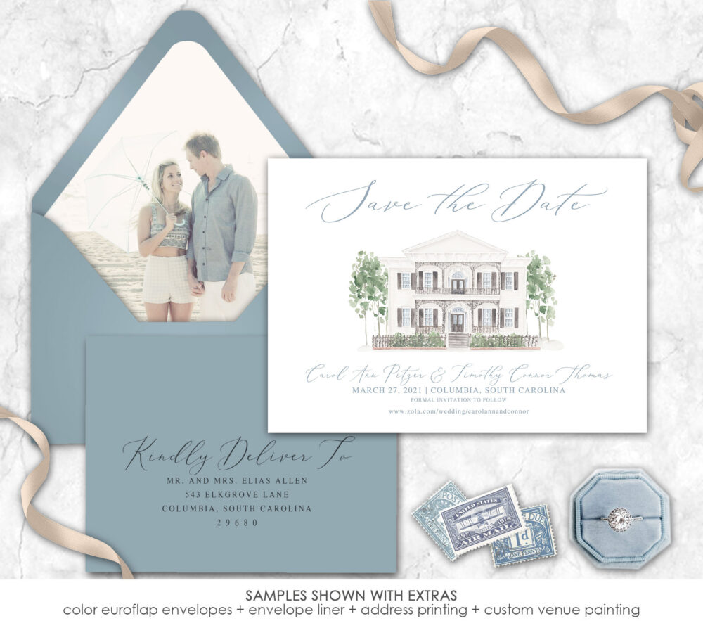 Custom Painted Venue Save The Date, Any Color, The Lace House, Save Date, Envelope Liner, Photo Date