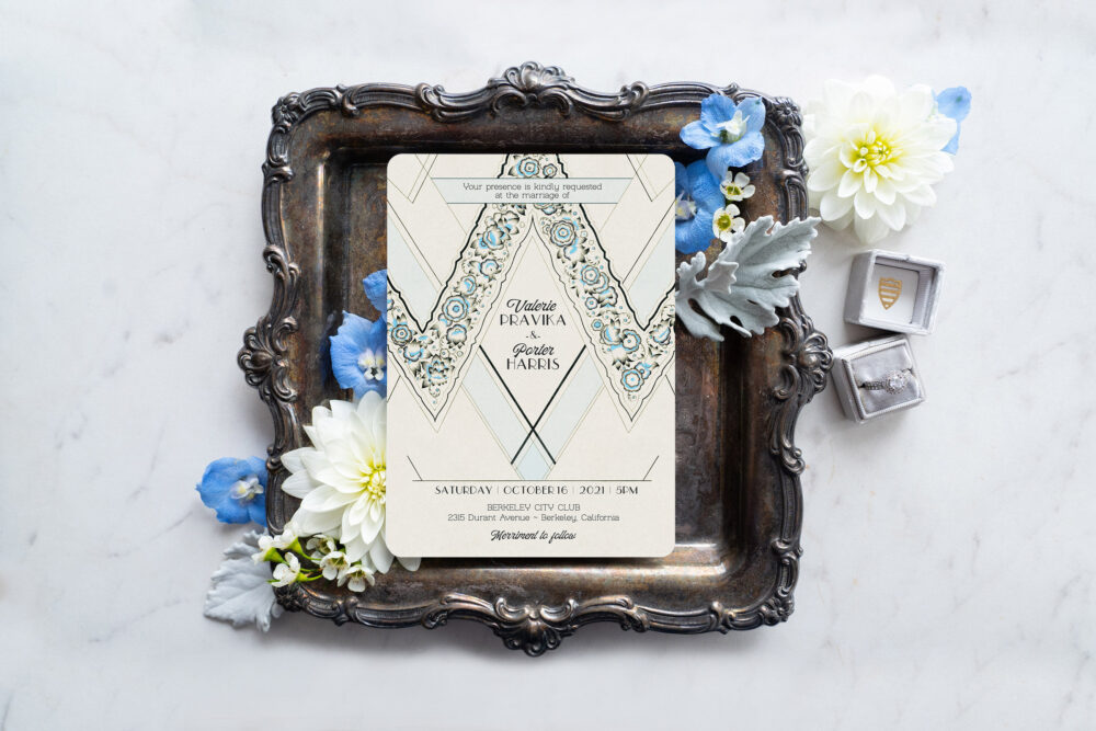 Art Deco Wedding Invitations, Great Gatsby Vintage Stationery, Save The Date Cards - Le Parisienne