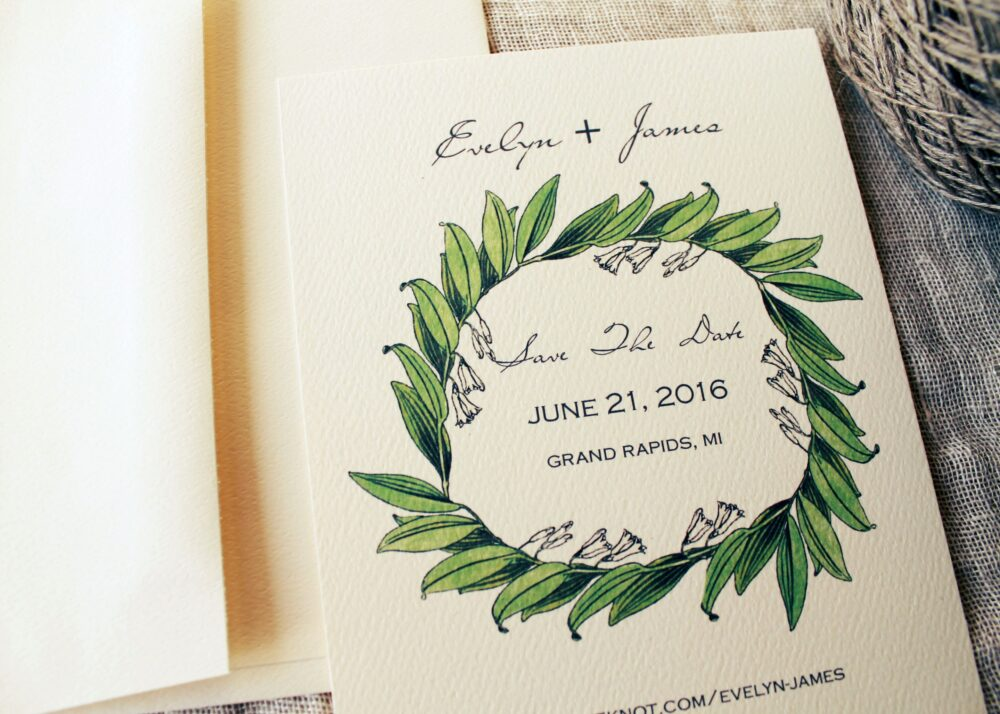 Lily Wedding Save The Date Cards | Botanical Vintage Floral Download Outdoor Printed