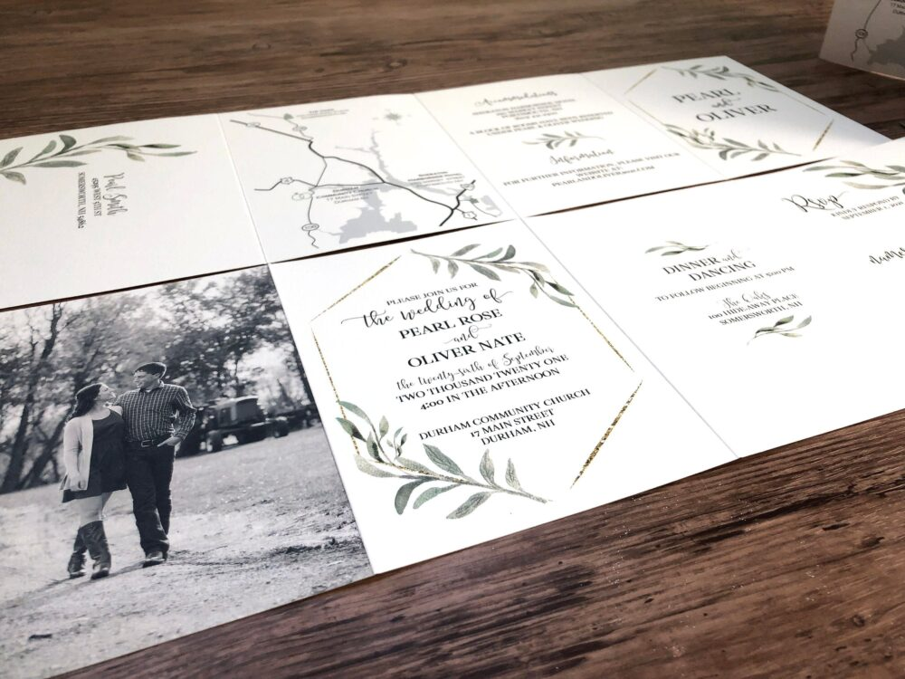 Greenery Wedding Invitation, Custom Designed Invitations, Include Details, Tear Off Rsvp Card, Map, & Photo All in One | 232