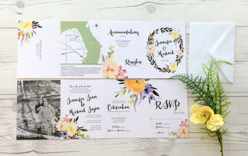 Floral Wedding Invitation Suite - Gorgeous Watercolor Flower Invitations All in One Photo | 199