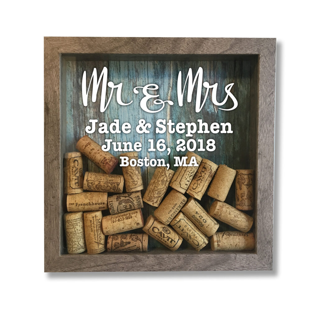 Wedding Wine Cork Shadow Box, Engagement Party Gift, Farmhouse Style, Keeper, Gift For Couple, Lgbt Holder