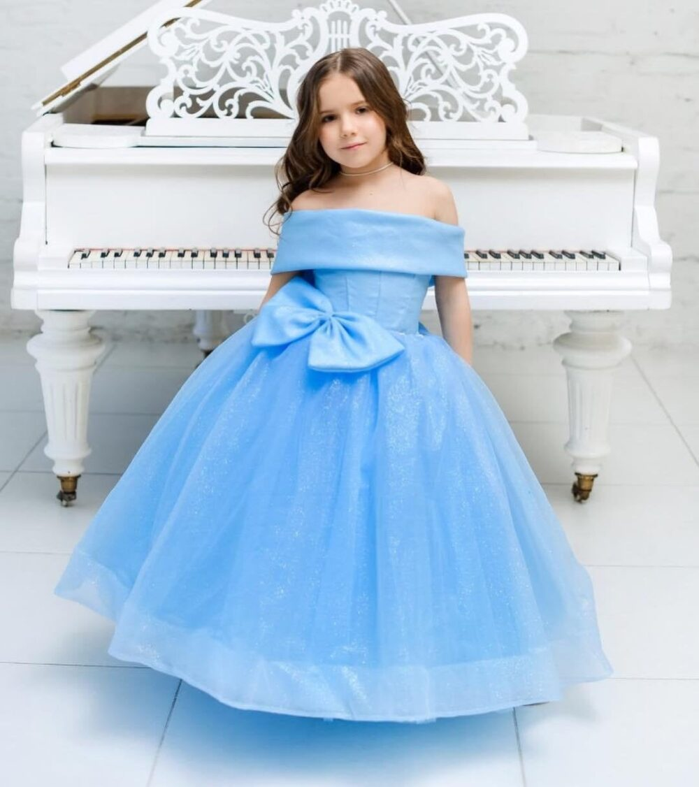 Flower Girl Dress, Wedding Outfit, Junior Bridesmaid Fluffy Long Tulle Dress For Princess, Off Shoulders Ball Gown With Bow