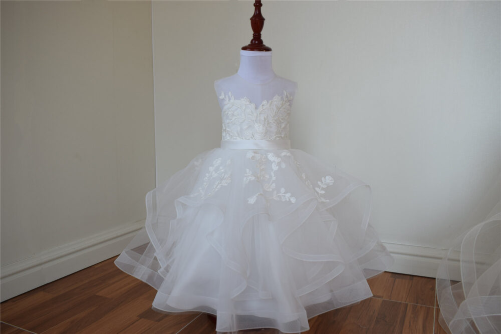 Lace Tulle Wedding Flower Girl Dress, Birthday Party Dress