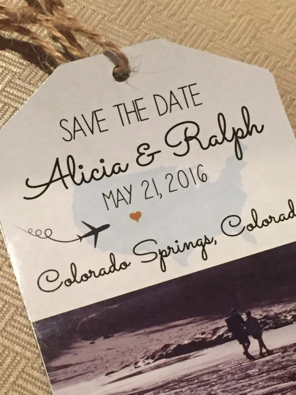 Destination Wedding Invitation Save The Date Luggage Tag. Engagement Photo Save Date