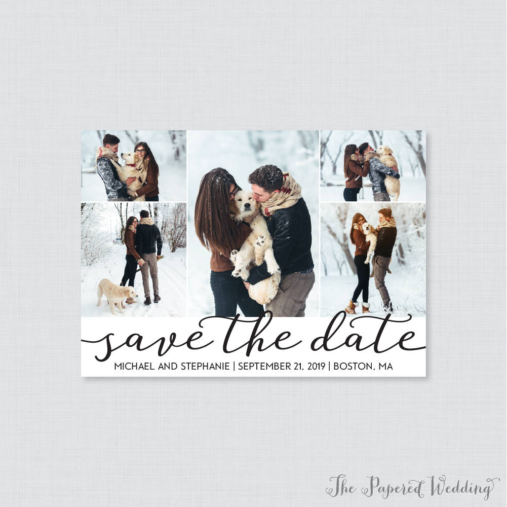 Printable Or Printed Save The Date Cards With Five Pictures - Photo Collage Our For Wedding Multiple Picture 101