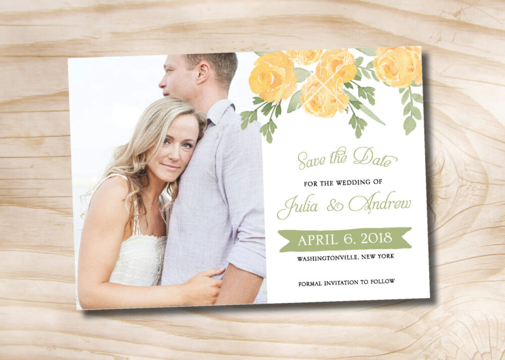 Yellow Rose Watercolor Floral Wedding Photo Save The Date Magnets With Envelopes