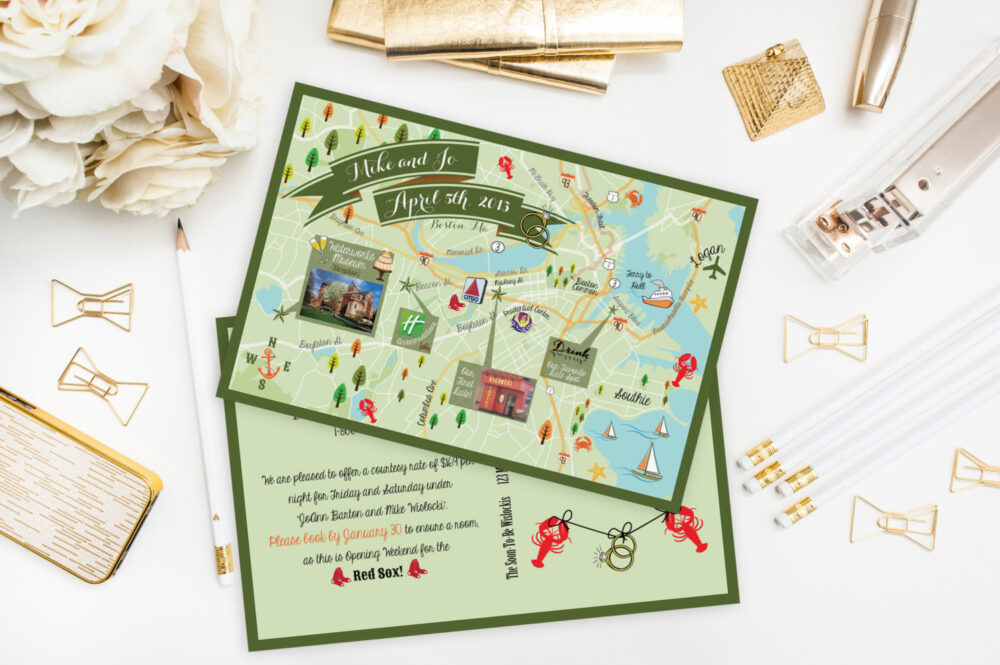 Custom Wedding Map - Any Location Available-Boston, Massachusetts Map Pictured - Destination Wedding, City Map - Save The Date