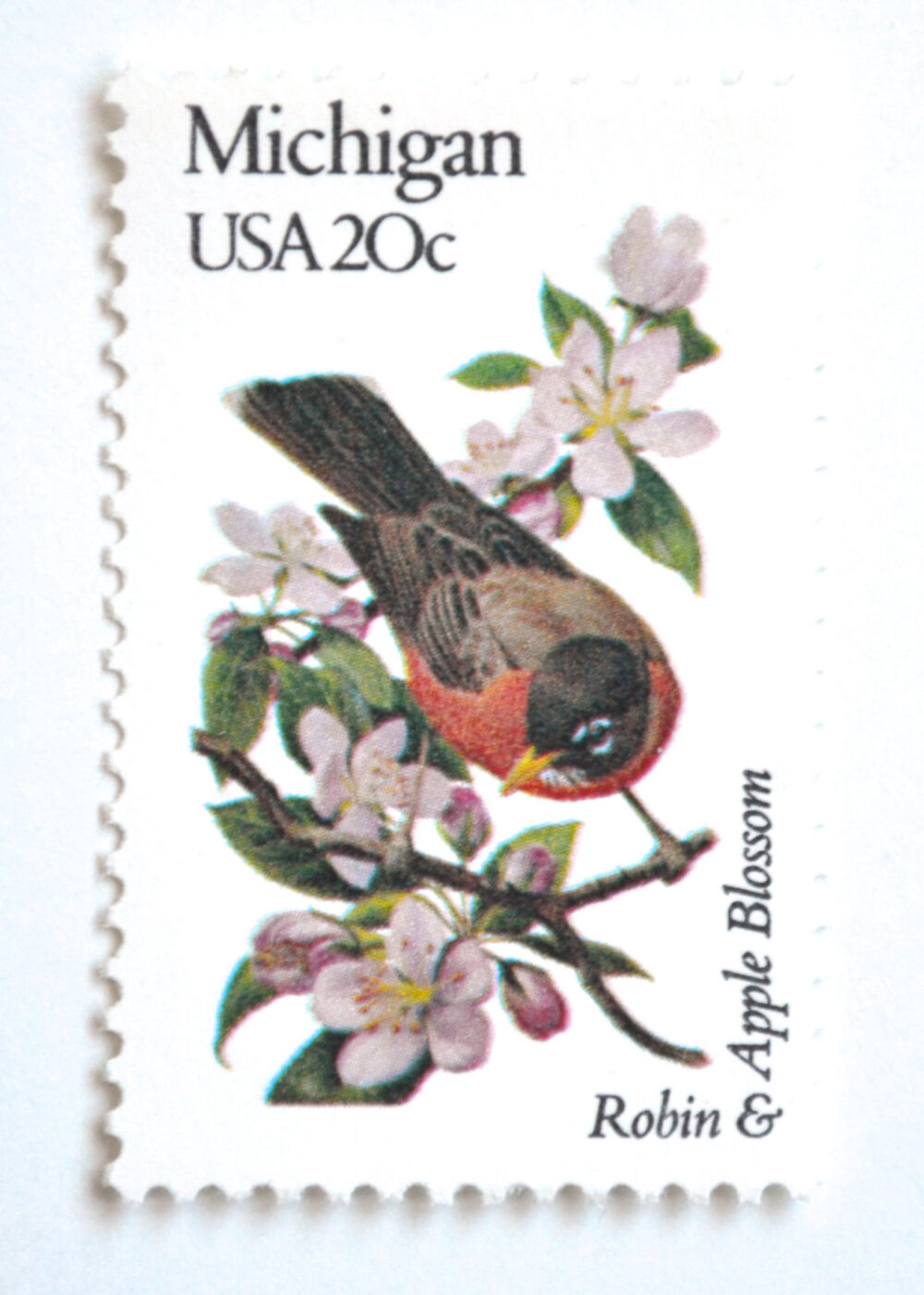 10 Michigan Vintage Postage Stamps Unused Robin & Apple Blossom State Bird & Flower For Mailing
