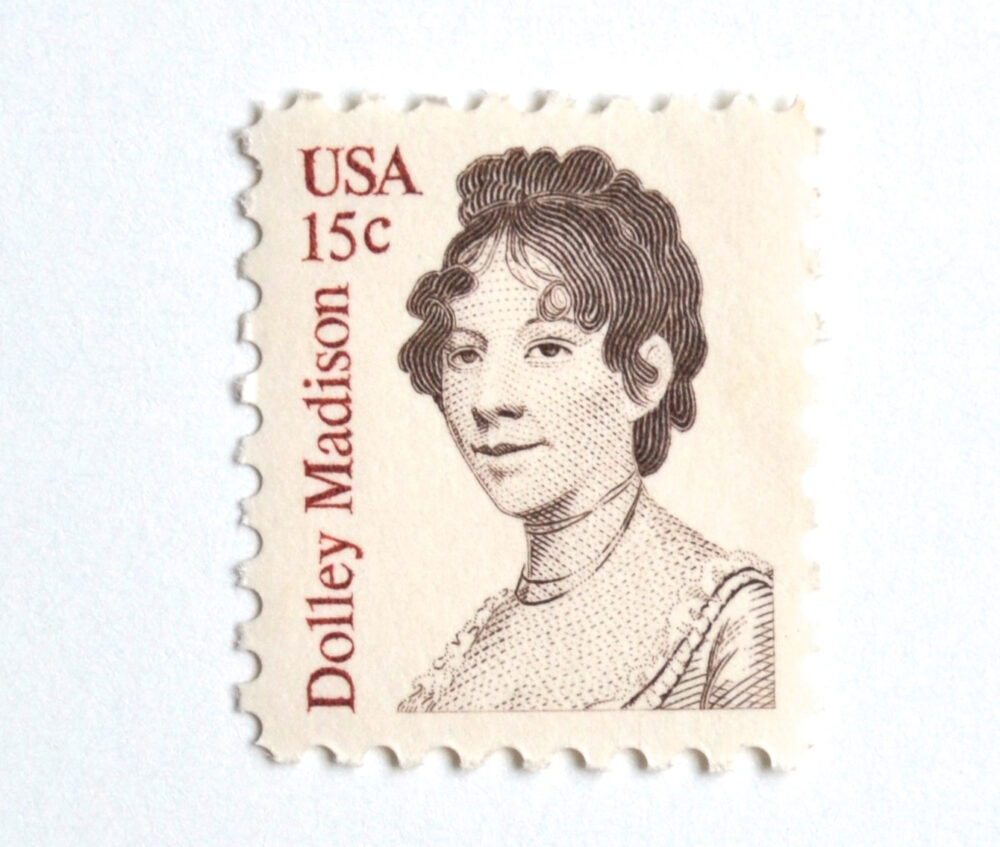 10 Dolly Madison Postage Stamps // 15 Cent Vintage First Lady Unused For Mailing